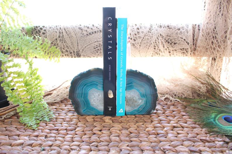 Teal agate bookends by Rock Paradise on Etsy