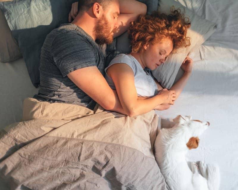 A man and a woman sleeping on a Bear organic mattress