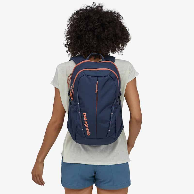 Woman wearing Patagonia recycled backpack