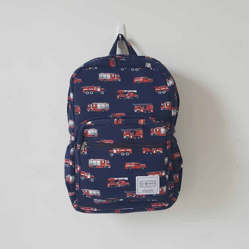 Beekeeper recycled backpack with fire truck print