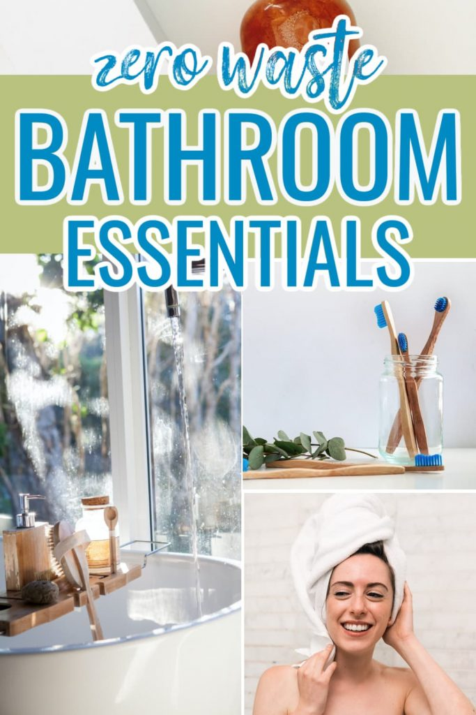 Collage of zero waste bathroom products that are essential