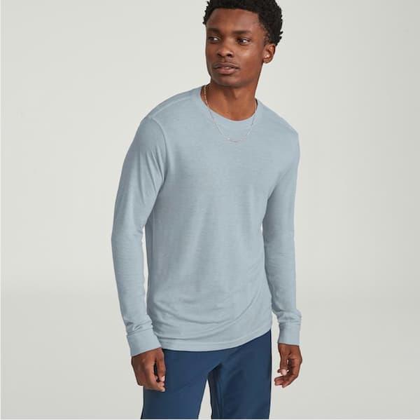 Man in light blue Allbirds t-shirt
