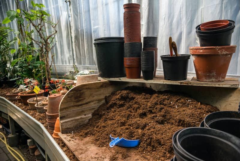 pots and potting soil for a vegetable garden