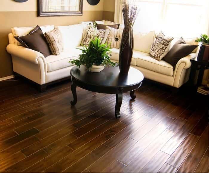 reclaimed hardwood floor in a living room
