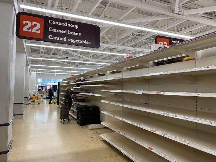 we are still heavily dependent on supply chains and empty supermarket shelves can leave us high and dry