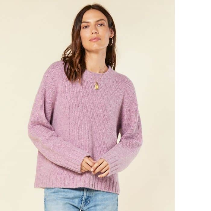 woman wearing ethical cashmere fair trade sweater